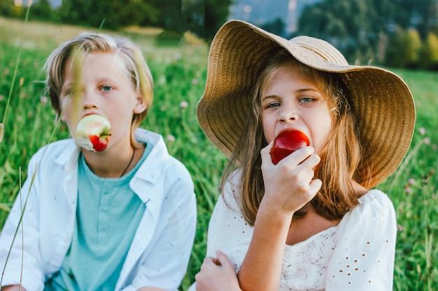 Bambini divertenti con gli amici del fratello e della sorella delle mele che si siedono nell'erba, scena rurale