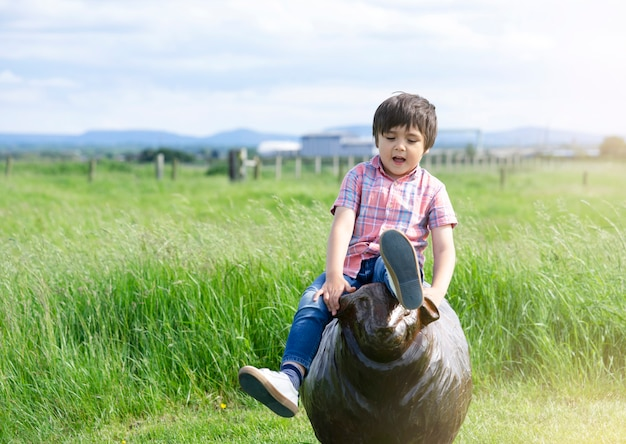 Bambino felice che si siede sulla statua di legno nel parco, ragazzo attivo del bambino che gioca all'aperto al campo di erba in estate di domenica, concetto positivo dei bambini