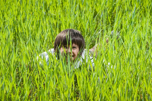 Bambino felice sul bellissimo campo di erba verde giallo