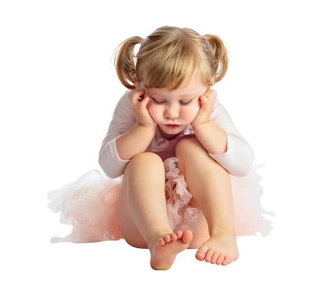 Bambino femminile isolato con il tutu