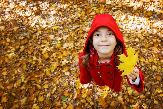 Bambino in un cappotto rosso con foglie d'autunno. amare l'autunno messa a fuoco selettiva