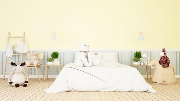 Bambola animale del bambino nella camera del bambino o della camera da letto - rappresentazione 3d