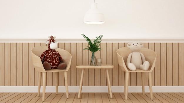 Bambola della giraffa e dell'orso nella sala da pranzo o nella stanza del bambino - rappresentazione 3d