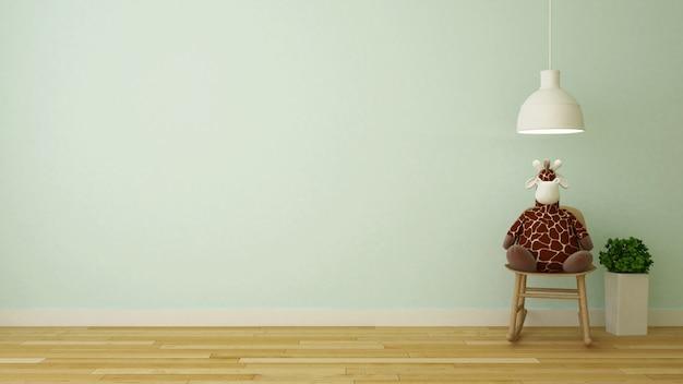Bambola della giraffa sulla sedia rocciosa nella rappresentazione room-3d del bambino