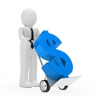 Bambola di panno trasportato in un segno di dollaro carriola in blu