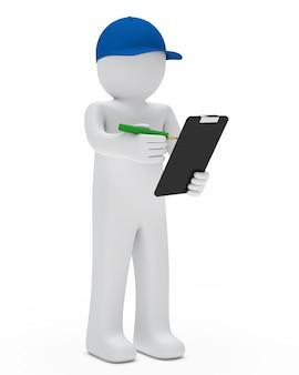 Bambola di pezza con un berretto blu e checklist