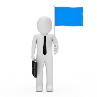 Bambola di pezza con una cravatta e bandiera blu