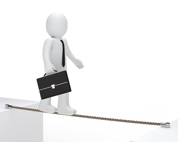 Bambola di pezza con una valigia che cammina su una corda
