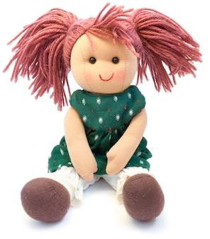 Bambola fatta a mano su un bianco