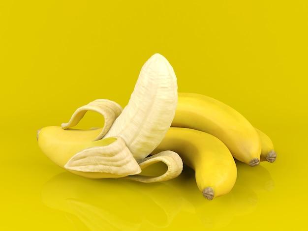 Banana e mazzo di banane sbucciate su fondo giallo