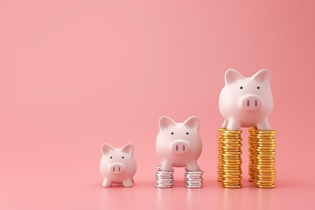 Banca piggy e monete dorate della pila del grafico a tre livelli sulla parete rosa con il concetto dei soldi di risparmio. pianificazione finanziaria per il futuro. rendering 3d.