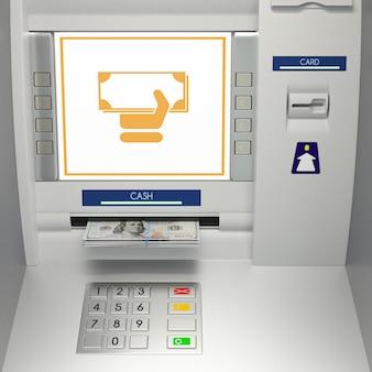 Bancomat con banconote nella fessura per i soldi