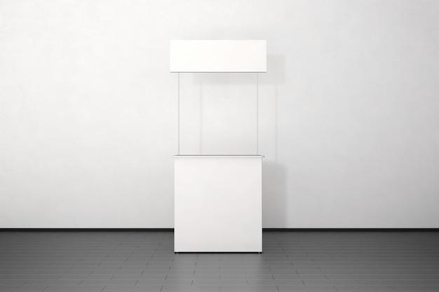 Bancone promo bianco bianco in piedi vicino al muro