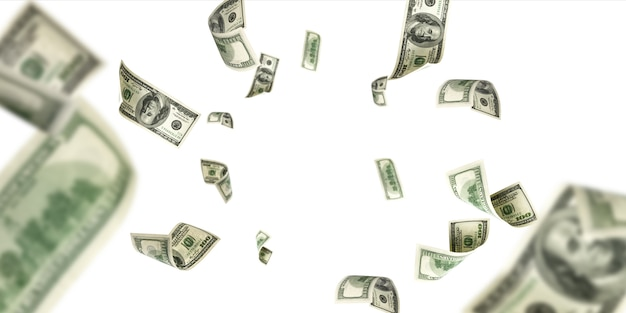 Banconota da cento dollari. sfondo isolato soldi che cadono. contanti americani.