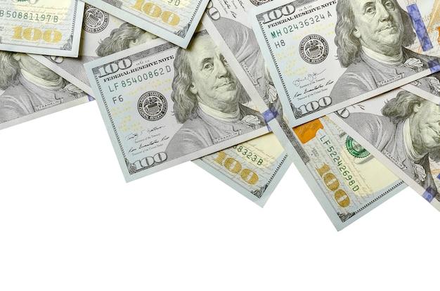 Banconote da un dollaro. denaro americano, vista dall'alto