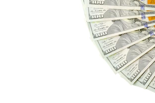 Banconote da un dollaro. soldi americani isolati su bianco con lo spazio della copia