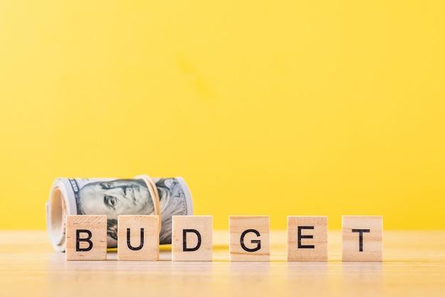 Banconote in dollari arrotolate e budget di parole. concetto di contabilità finanze