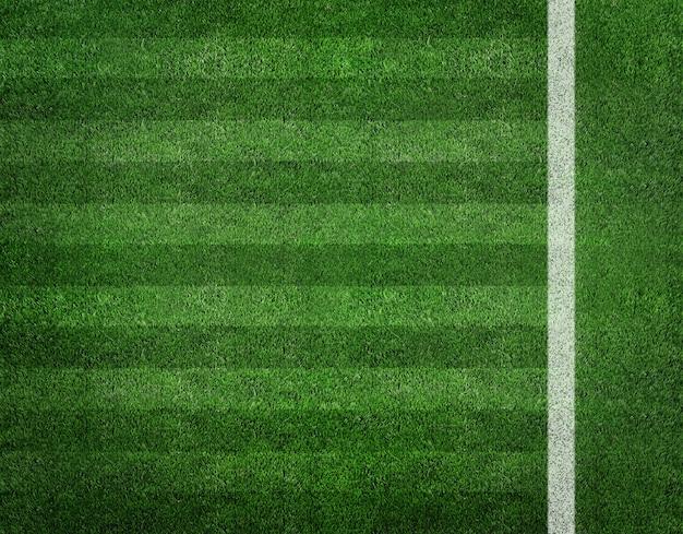 Banda bianca sul campo di calcio verde dalla vista dall'alto