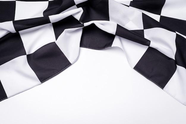 Bandiera a scacchi bianca e nera. copia spazio