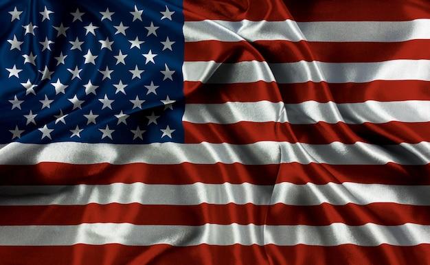 Bandiera americana con pieghe e grinze