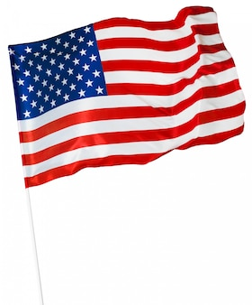 Bandiera americana isolata su bianco