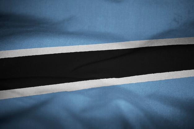 Bandiera arruffata del botswana che soffia nel vento