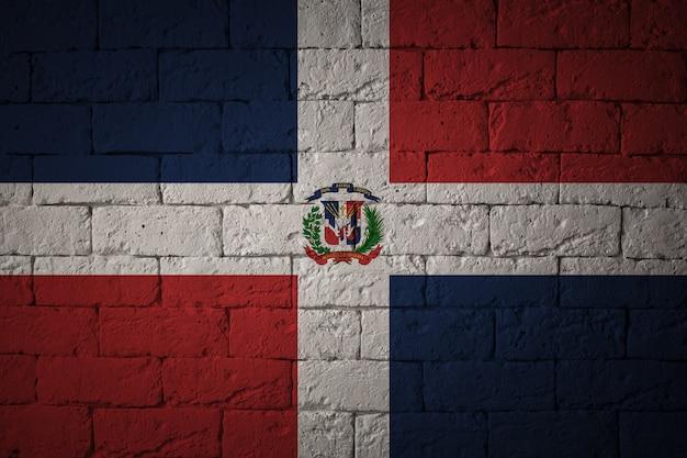 Bandiera con proporzioni originali. primo piano della bandiera del grunge della repubblica dominicana