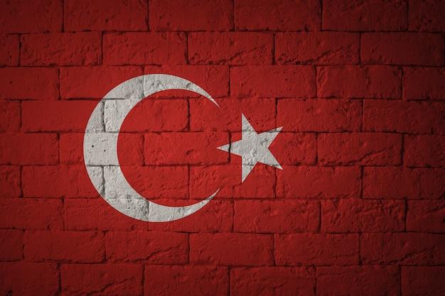 Bandiera con proporzioni originali. primo piano della bandiera del grunge della turchia