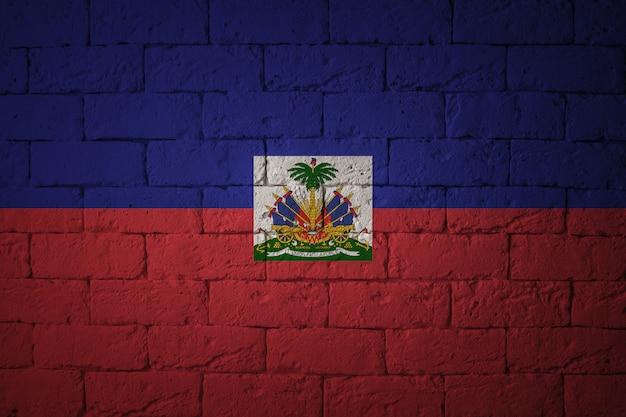 Bandiera con proporzioni originali. primo piano della bandiera del grunge di haiti
