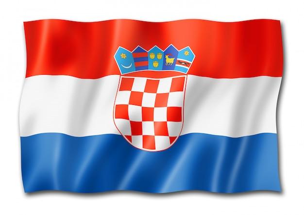 Bandiera croata isolata su bianco