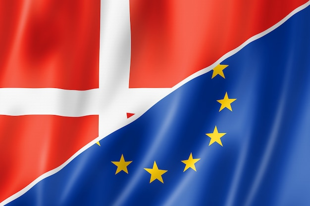 Bandiera danimarca ed europa