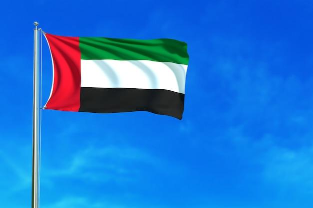 Bandiera degli emirati arabi uniti sulla rappresentazione del fondo 3d del cielo blu
