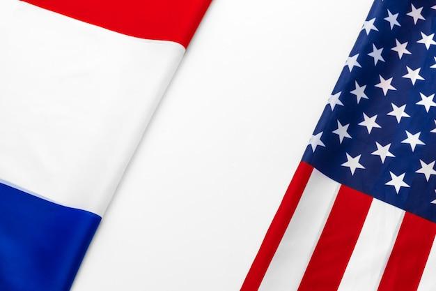 Bandiera degli stati uniti d'america e bandiera della francia