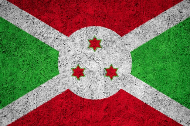 Bandiera del burundi dipinta sulla parete del grunge