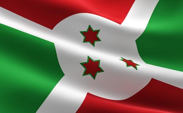 Bandiera del burundi. illustrazione della bandiera della burundi agitando.