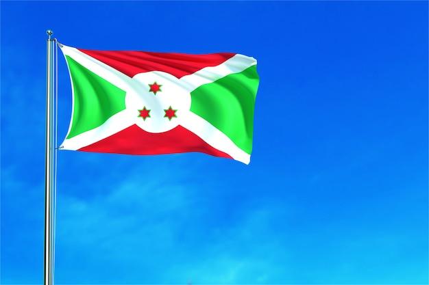 Bandiera del burundi sulla rappresentazione del fondo 3d del cielo blu