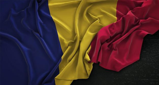 Bandiera del ciad ruvido su sfondo scuro 3d rendering