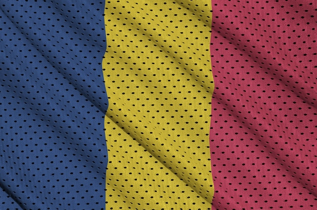Bandiera del ciad stampata su un abbigliamento sportivo in nylon poliestere