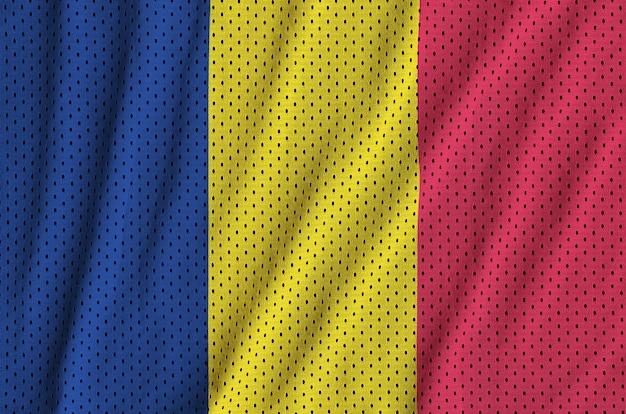 Bandiera del ciad stampata su un tessuto a rete per abbigliamento sportivo in nylon poliestere