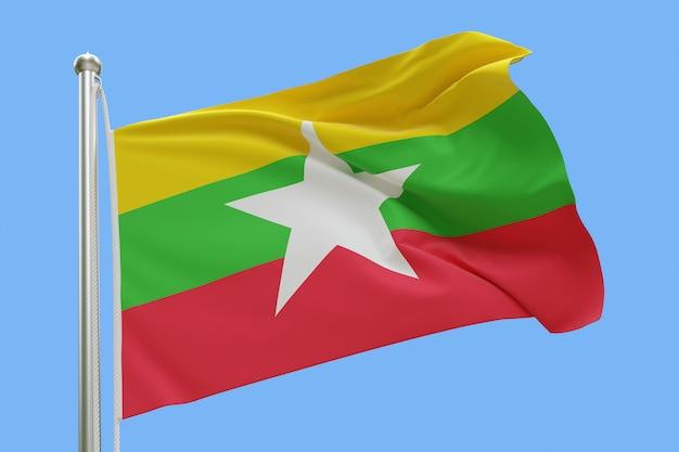 Bandiera del myanmar sull'asta della bandiera che fluttua nel vento isolato su priorità bassa blu