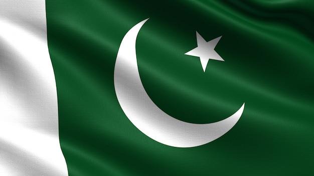 Bandiera del pakistan, con ondeggiante trama del tessuto