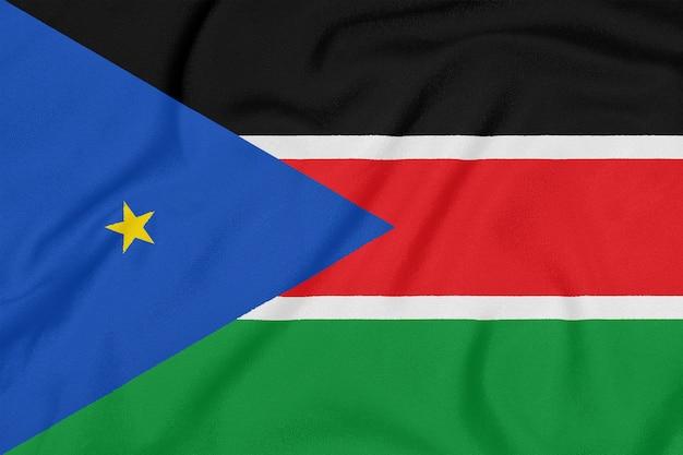 Bandiera del sudan del sud su tessuto strutturato.