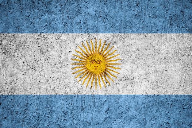 Bandiera dell'argentina dipinta sulla parete del grunge
