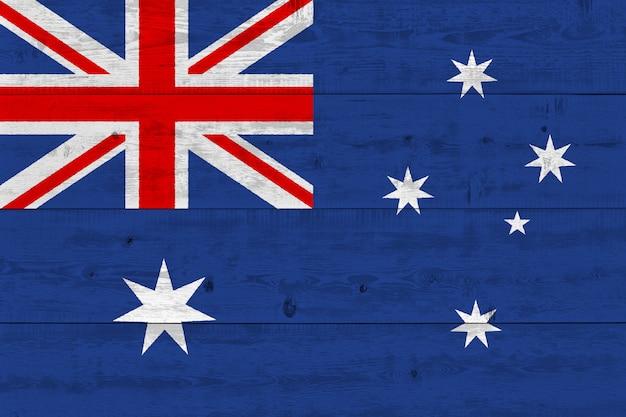 Bandiera dell'australia dipinta sulla vecchia plancia di legno