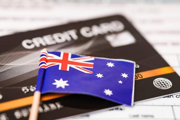 Bandiera dell'australia sulla carta di credito