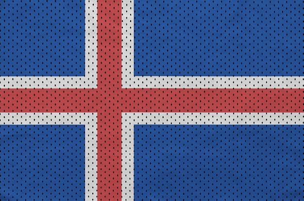 Bandiera dell'islanda stampata su un tessuto a rete per abbigliamento sportivo in nylon poliestere