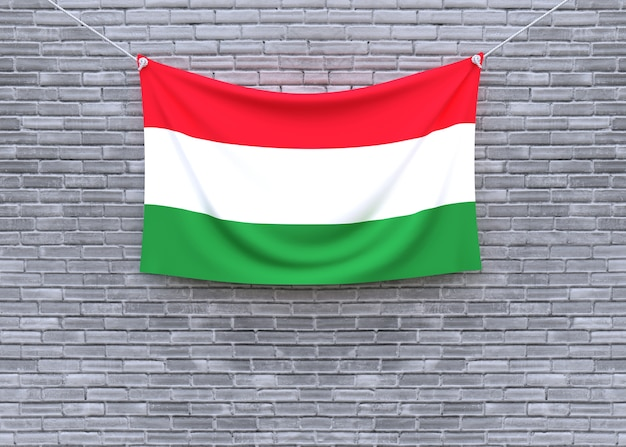 Bandiera dell'ungheria che appende sul muro di mattoni