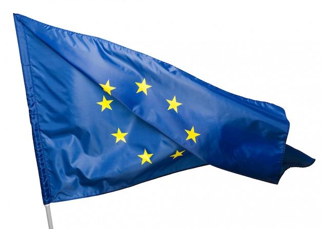 Bandiera dell'unione europea, isolata su sfondo bianco.