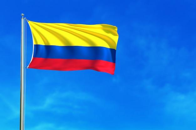 Bandiera della colombia la rappresentazione del fondo 3d del cielo blu