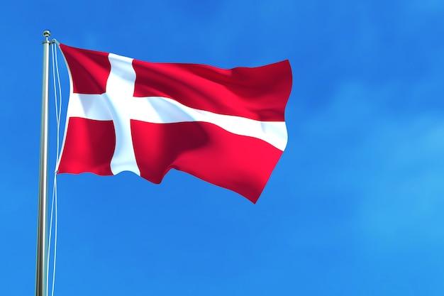 Bandiera della danimarca sulla rappresentazione di sfondo 3d cielo blu